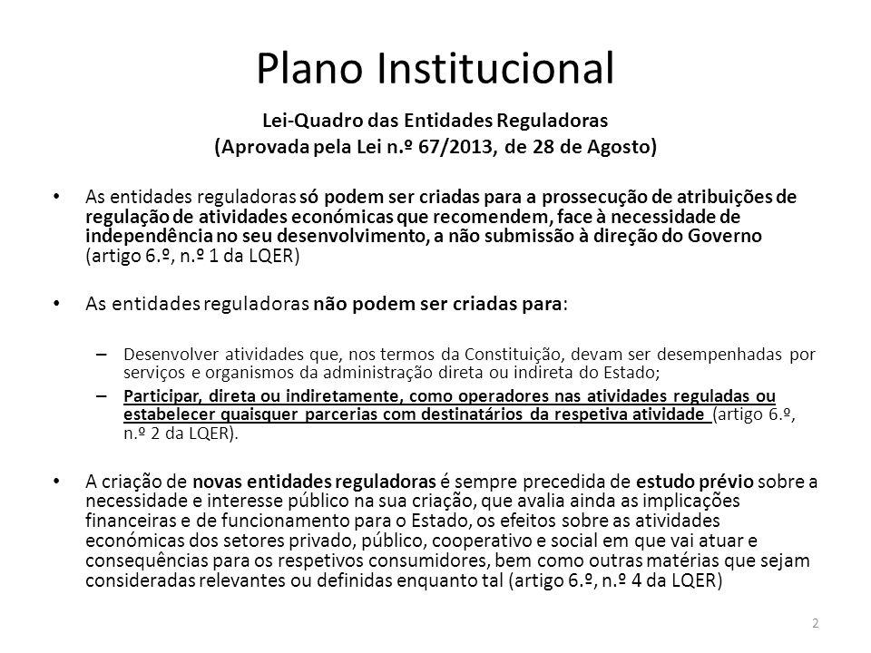 Plano Institucional Lei-Quadro das Entidades Reguladoras (Aprovada pela Lei n.º 67/2013, de 28 de Agosto) As entidades reguladoras só podem ser criada