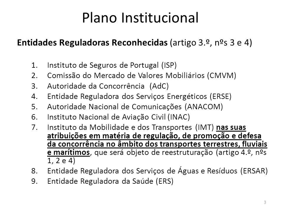 Plano Institucional Entidades Reguladoras Reconhecidas (artigo 3.º, nºs 3 e 4) 1.Instituto de Seguros de Portugal (ISP) 2.Comissão do Mercado de Valor