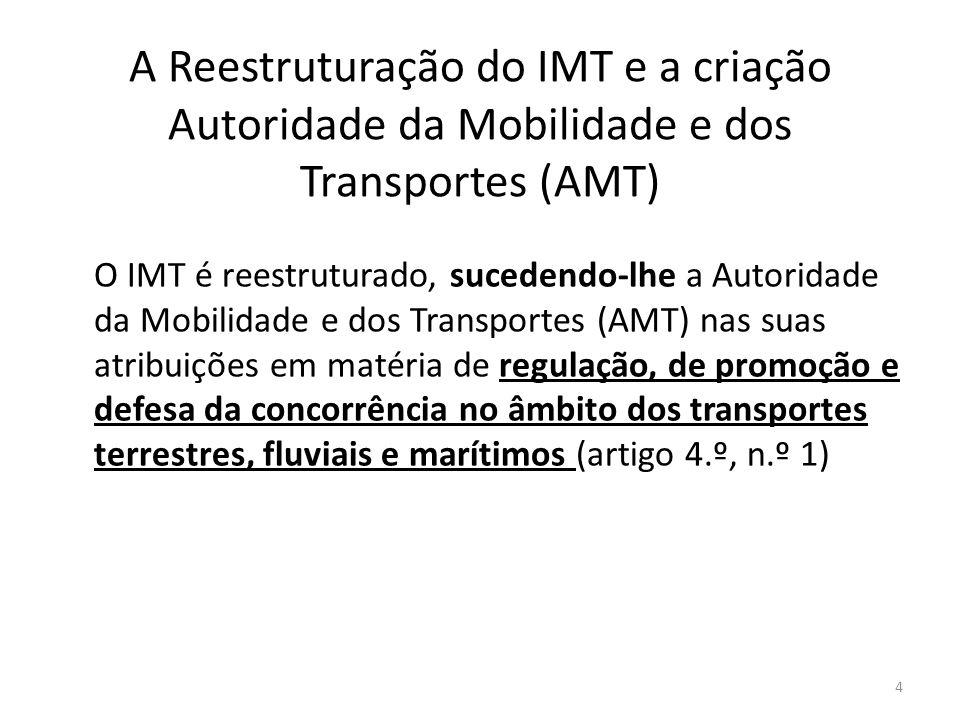 A Reestruturação do IMT e a criação Autoridade da Mobilidade e dos Transportes (AMT) O IMT é reestruturado, sucedendo-lhe a Autoridade da Mobilidade e