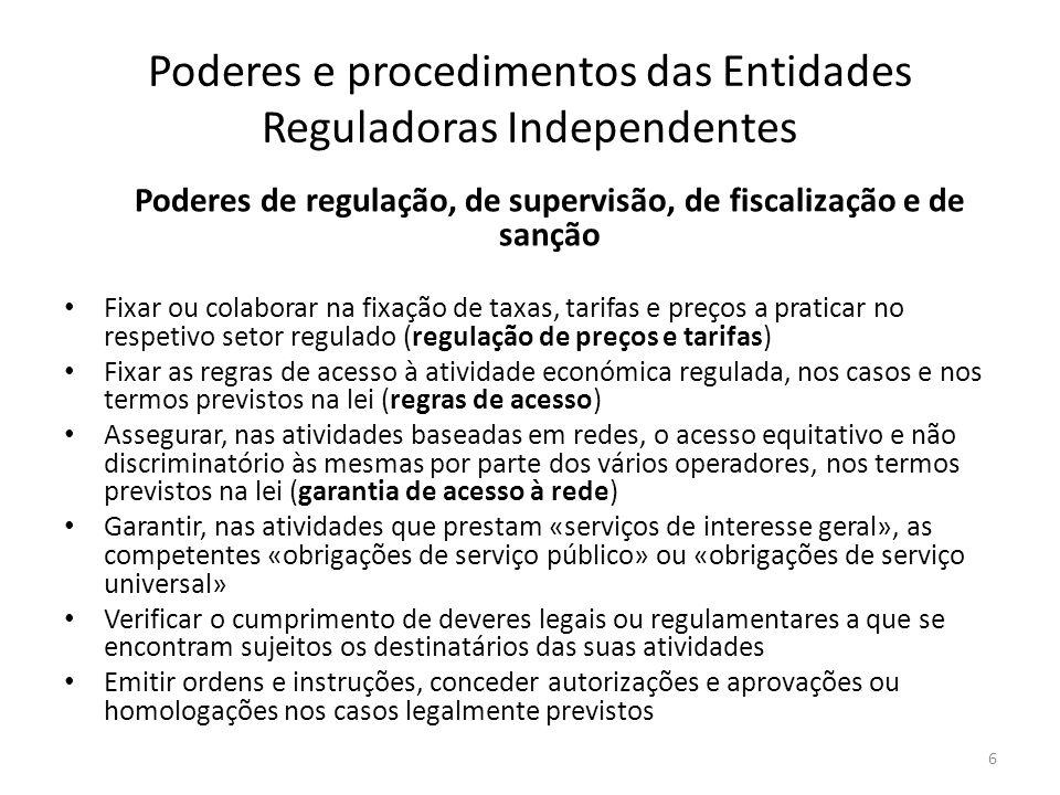Poderes e procedimentos das Entidades Reguladoras Independentes Poderes de regulação, de supervisão, de fiscalização e de sanção Fixar ou colaborar na