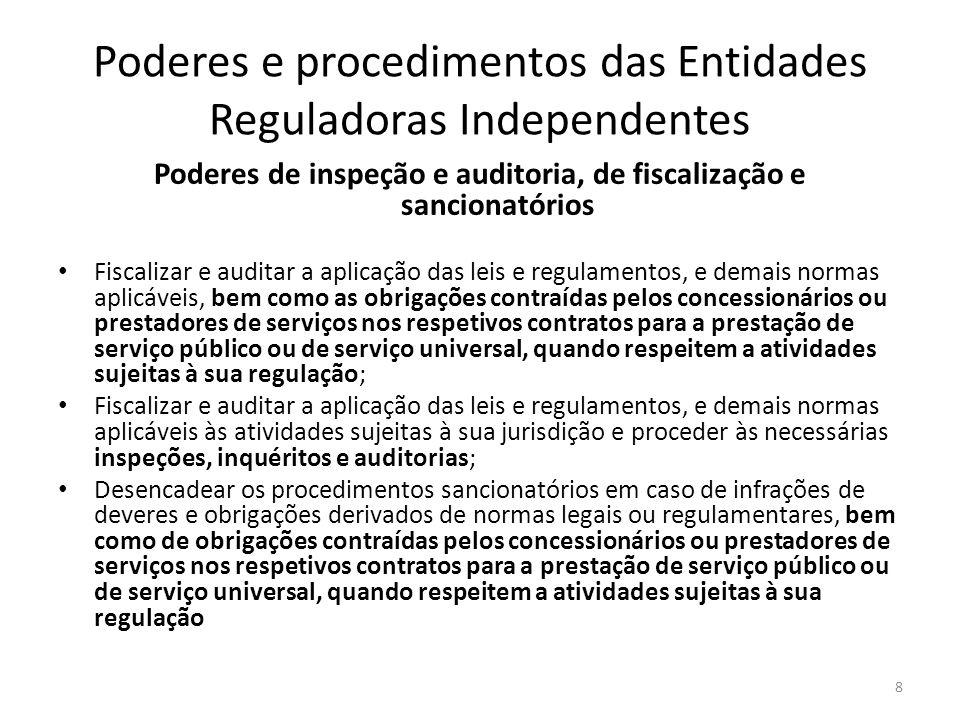 Poderes e procedimentos das Entidades Reguladoras Independentes Poderes de inspeção e auditoria, de fiscalização e sancionatórios Fiscalizar e auditar