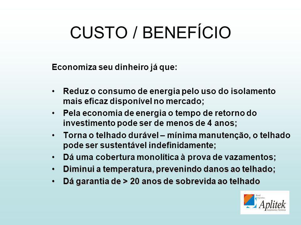 CUSTO / BENEFÍCIO Economiza seu dinheiro já que: Reduz o consumo de energia pelo uso do isolamento mais eficaz disponível no mercado; Pela economia de