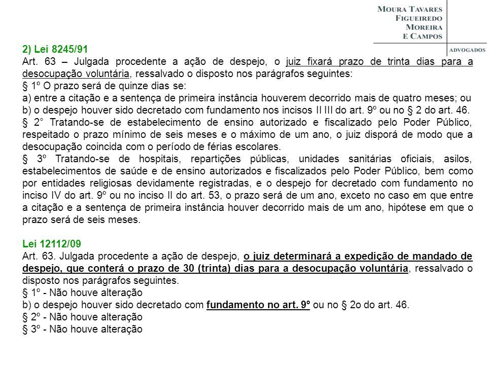 2) Lei 8245/91 Art. 63 – Julgada procedente a ação de despejo, o juiz fixará prazo de trinta dias para a desocupação voluntária, ressalvado o disposto