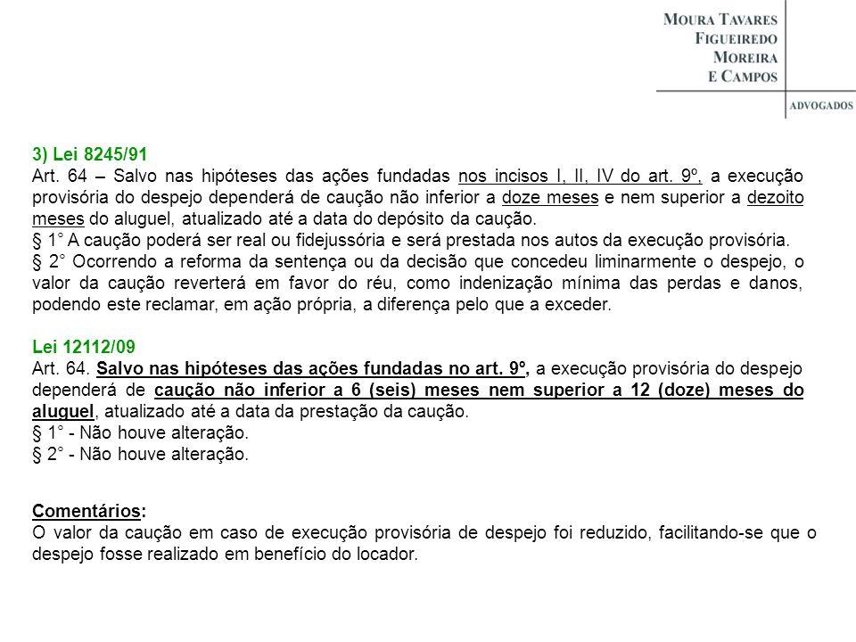3) Lei 8245/91 Art. 64 – Salvo nas hipóteses das ações fundadas nos incisos I, II, IV do art. 9º, a execução provisória do despejo dependerá de caução