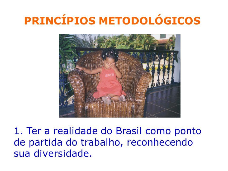 1. Ter a realidade do Brasil como ponto de partida do trabalho, reconhecendo sua diversidade. PRINCÍPIOS METODOLÓGICOS