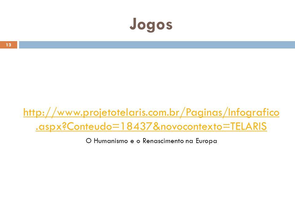 Jogos 13 http://www.projetotelaris.com.br/Paginas/Infografico.aspx?Conteudo=18437&novocontexto=TELARIS O Humanismo e o Renascimento na Europa
