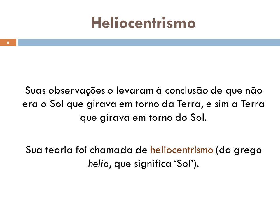 Heliocentrismo 6 Suas observações o levaram à conclusão de que não era o Sol que girava em torno da Terra, e sim a Terra que girava em torno do Sol.