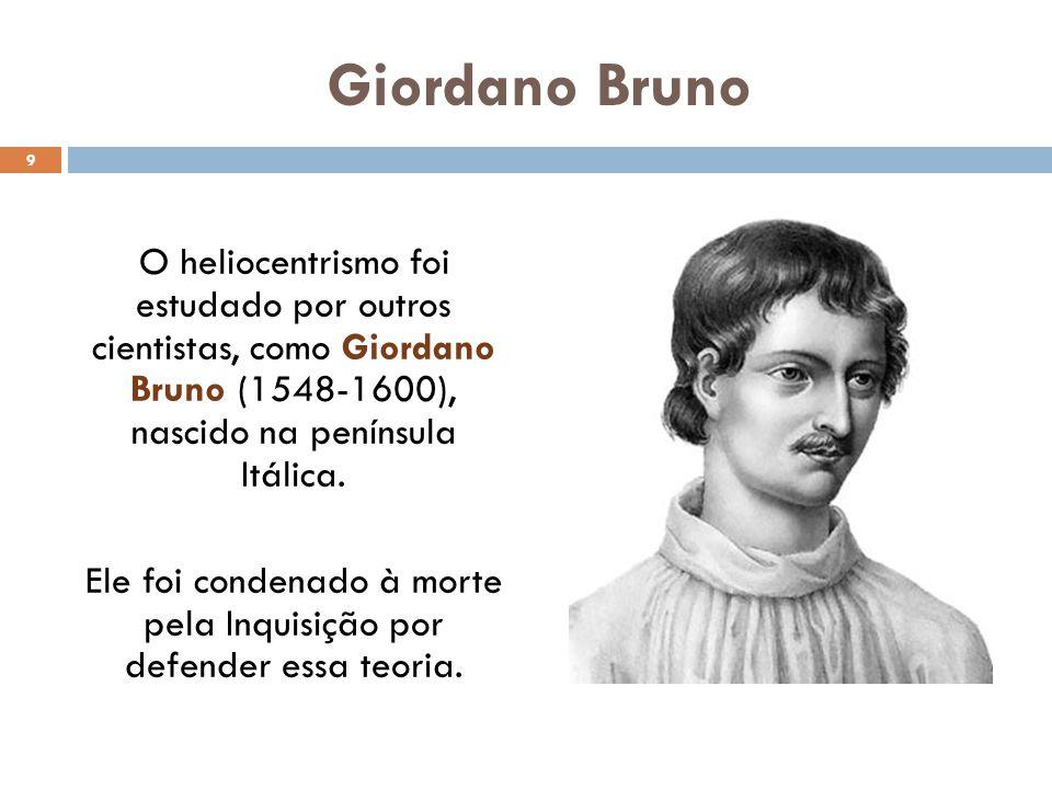 Giordano Bruno O heliocentrismo foi estudado por outros cientistas, como Giordano Bruno (1548-1600), nascido na península Itálica.