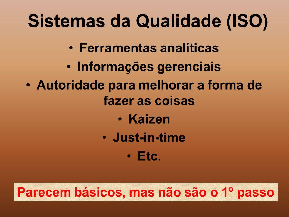 Sistemas da Qualidade (ISO) Ferramentas analíticas Informações gerenciais Autoridade para melhorar a forma de fazer as coisas Kaizen Just-in-time Etc.