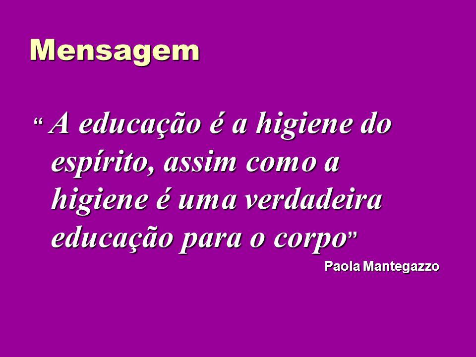Mensagem A educação é a higiene do espírito, assim como a higiene é uma verdadeira educação para o corpo A educação é a higiene do espírito, assim com