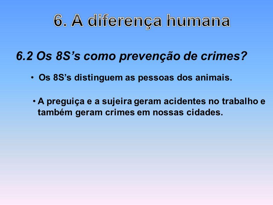 6.2 Os 8Ss como prevenção de crimes? Os 8Ss distinguem as pessoas dos animais. A preguiça e a sujeira geram acidentes no trabalho e também geram crime