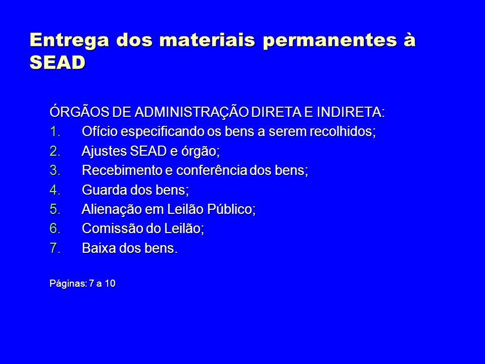 Entrega dos materiais permanentes à SEAD ÓRGÃOS DE ADMINISTRAÇÃO DIRETA E INDIRETA: 1.Ofício especificando os bens a serem recolhidos; 2.Ajustes SEAD