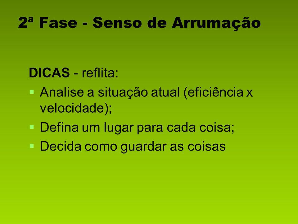 DICAS - reflita: Analise a situação atual (eficiência x velocidade); Defina um lugar para cada coisa; Decida como guardar as coisas 2ª Fase - Senso de