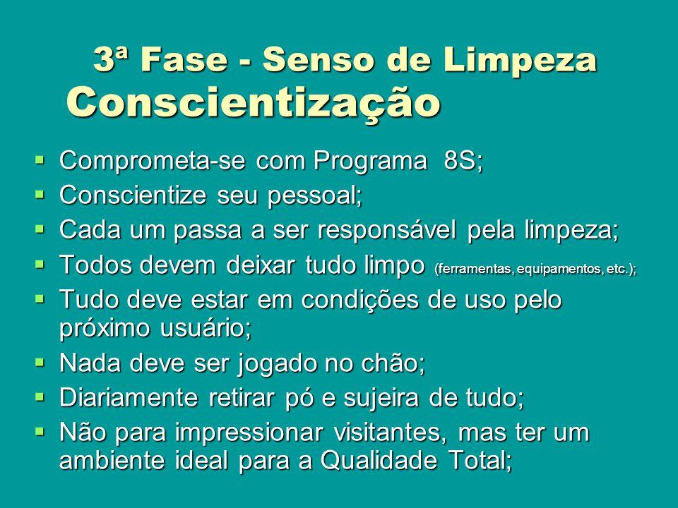 Conscientização Comprometa-se com Programa 8S; Comprometa-se com Programa 8S; Conscientize seu pessoal; Conscientize seu pessoal; Cada um passa a ser