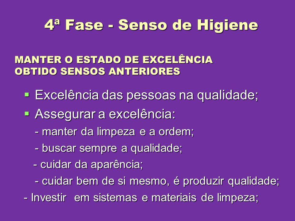 Excelência das pessoas na qualidade; Excelência das pessoas na qualidade; Assegurar a excelência: Assegurar a excelência: - manter da limpeza e a orde