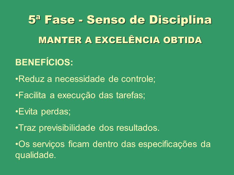 MANTER A EXCELÊNCIA OBTIDA BENEFÍCIOS: Reduz a necessidade de controle; Facilita a execução das tarefas; Evita perdas; Traz previsibilidade dos result