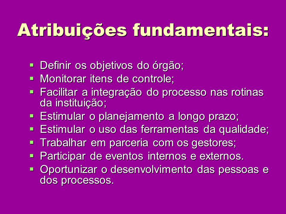 Atribuições fundamentais: Definir os objetivos do órgão; Definir os objetivos do órgão; Monitorar itens de controle; Monitorar itens de controle; Faci