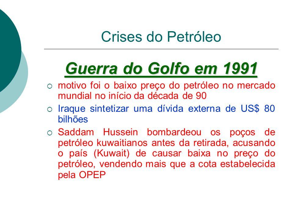 Crises do Petróleo 1979 Donos dos poços de petróleo (os árabes) mais uma vez reduzirem sua produção. Preço subiu violentamente, saltando para a casa d