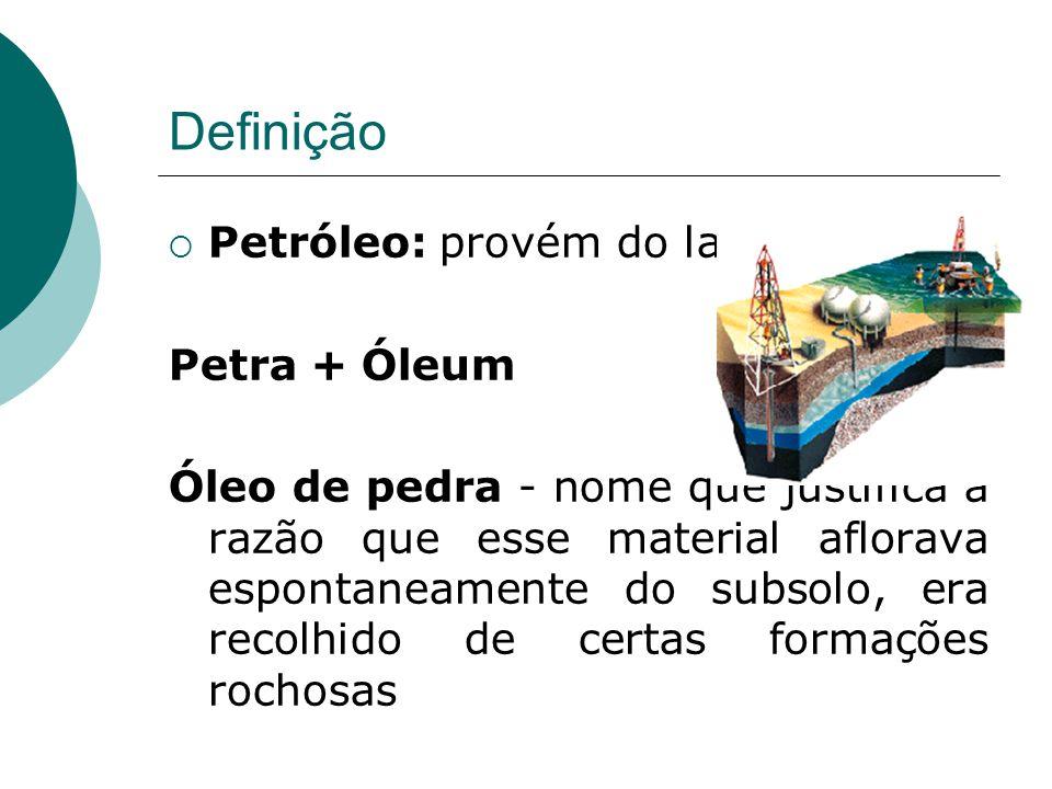 Definição Petróleo: provém do latim Petra + Óleum Óleo de pedra - nome que justifica a razão que esse material aflorava espontaneamente do subsolo, era recolhido de certas formações rochosas