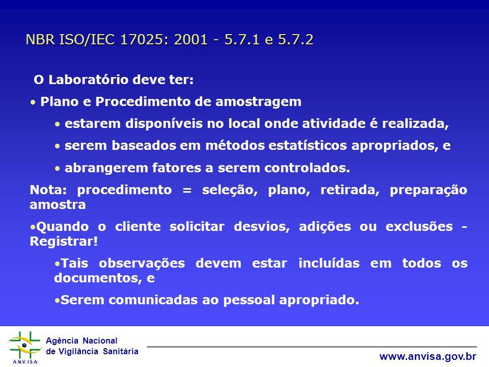 Agência Nacional de Vigilância Sanitária www.anvisa.gov.br Amostragem NBR ISO/IEC 17025: 2001 - 5.7 INMETRO NIT DICLA 083:00 - 7.4