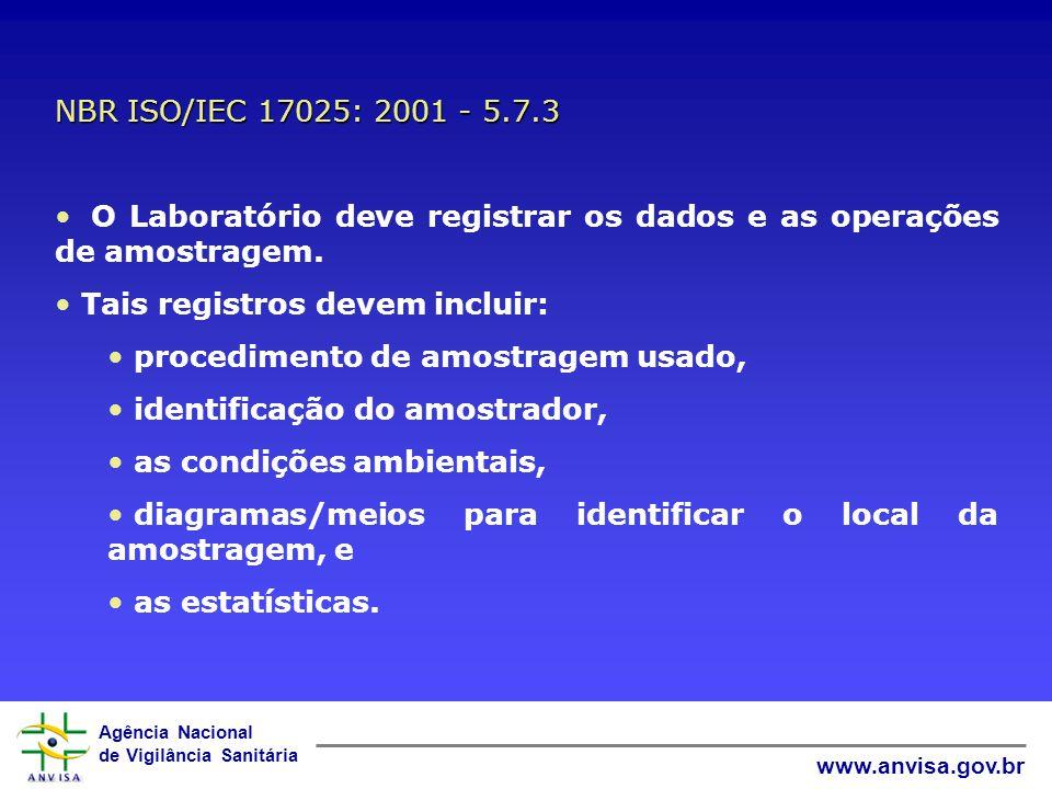 Agência Nacional de Vigilância Sanitária www.anvisa.gov.br O Laboratório deve ter: Plano e Procedimento de amostragem estarem disponíveis no local ond