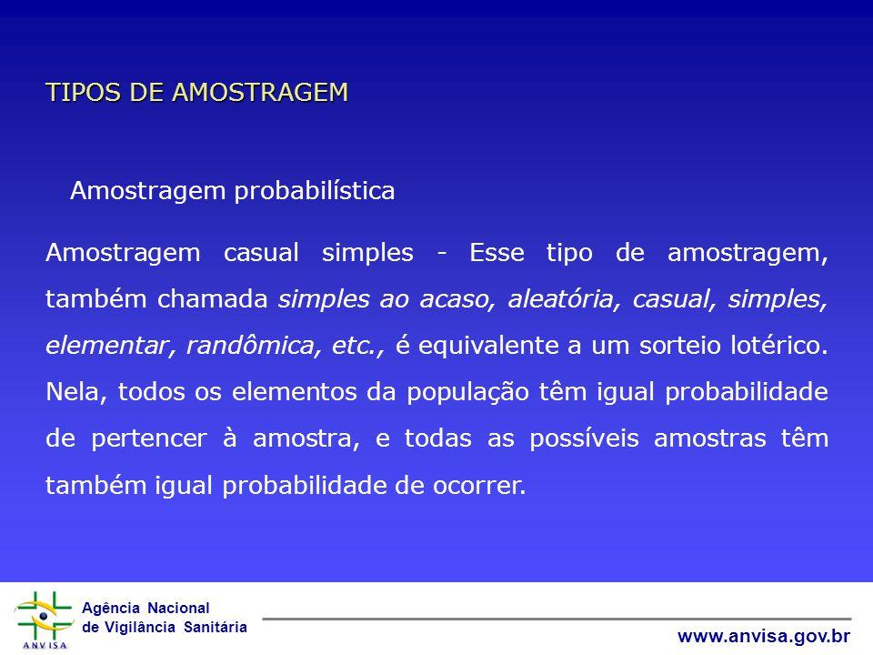 Agência Nacional de Vigilância Sanitária www.anvisa.gov.br Amostragem probabilística e não probabilística A amostragem será probabilística se todos os