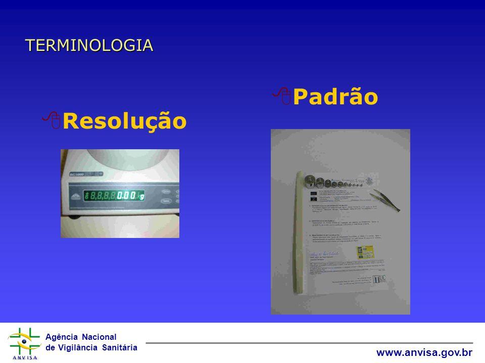 Agência Nacional de Vigilância Sanitária www.anvisa.gov.br 8Aferição 8Calibração 8Incerteza de medição 8Ajuste TERMINOLOGIA