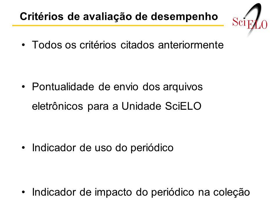Critérios de avaliação de desempenho Todos os critérios citados anteriormente Pontualidade de envio dos arquivos eletrônicos para a Unidade SciELO Indicador de uso do periódico Indicador de impacto do periódico na coleção