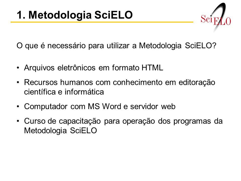 O que é necessário para utilizar a Metodologia SciELO.