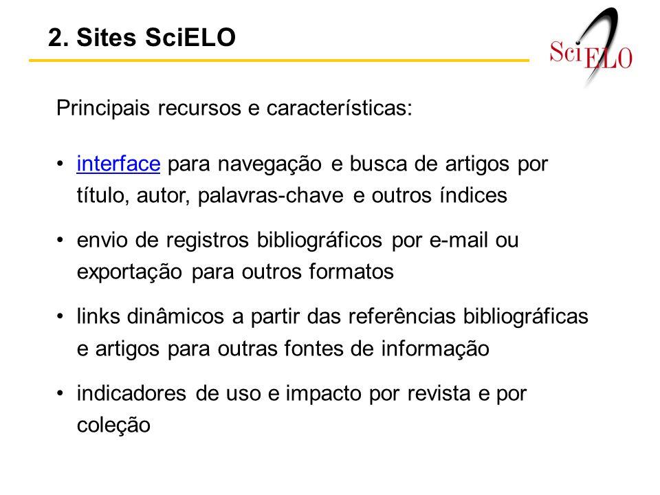 2. Sites SciELO Principais recursos e características: interface para navegação e busca de artigos por título, autor, palavras-chave e outros índicesi