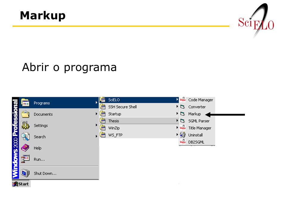 Abrir o programa Markup