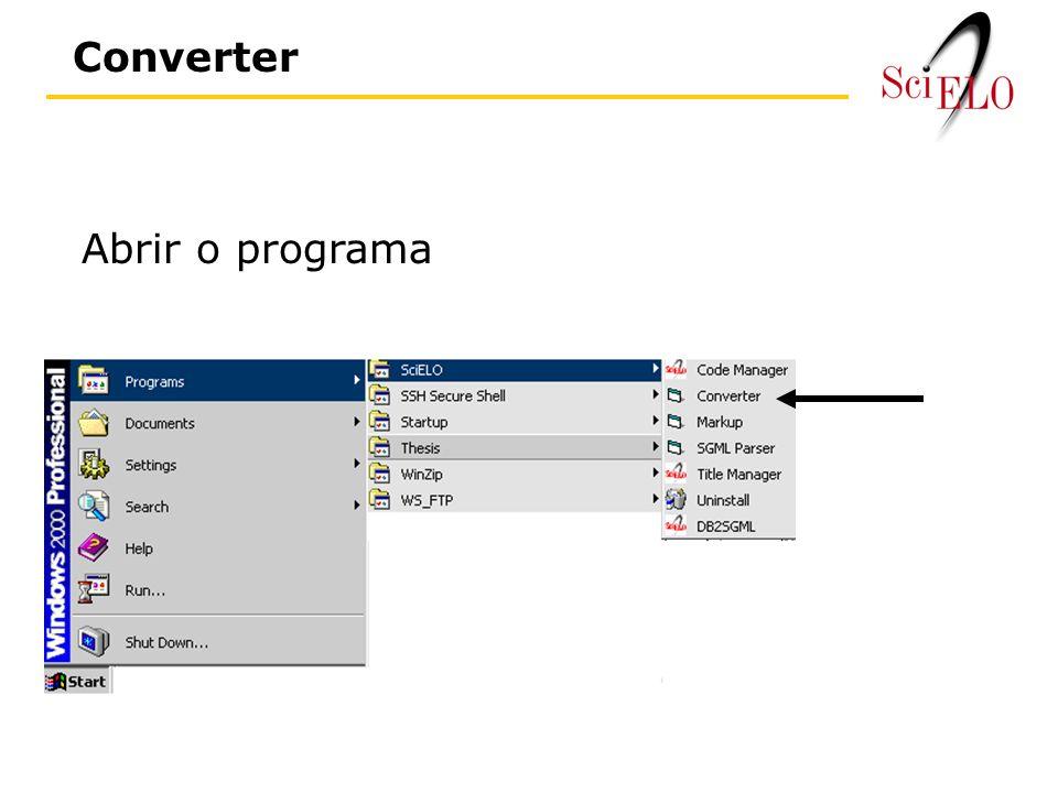 Abrir o programa Converter