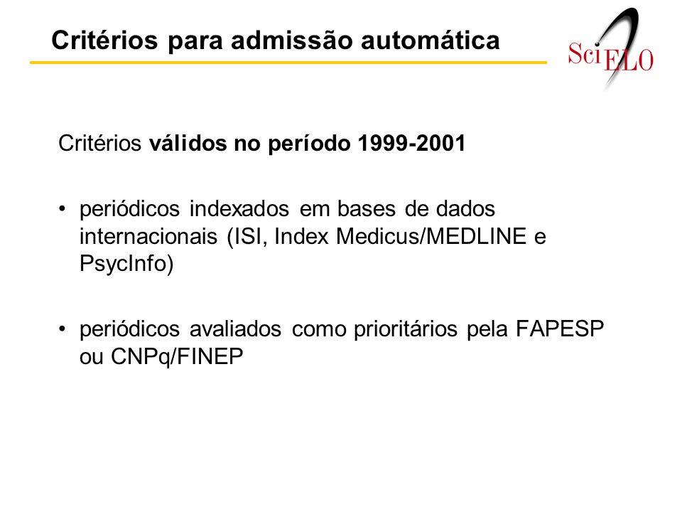 Critérios válidos no período 1999-2001 periódicos indexados em bases de dados internacionais (ISI, Index Medicus/MEDLINE e PsycInfo) periódicos avaliados como prioritários pela FAPESP ou CNPq/FINEP Critérios para admissão automática