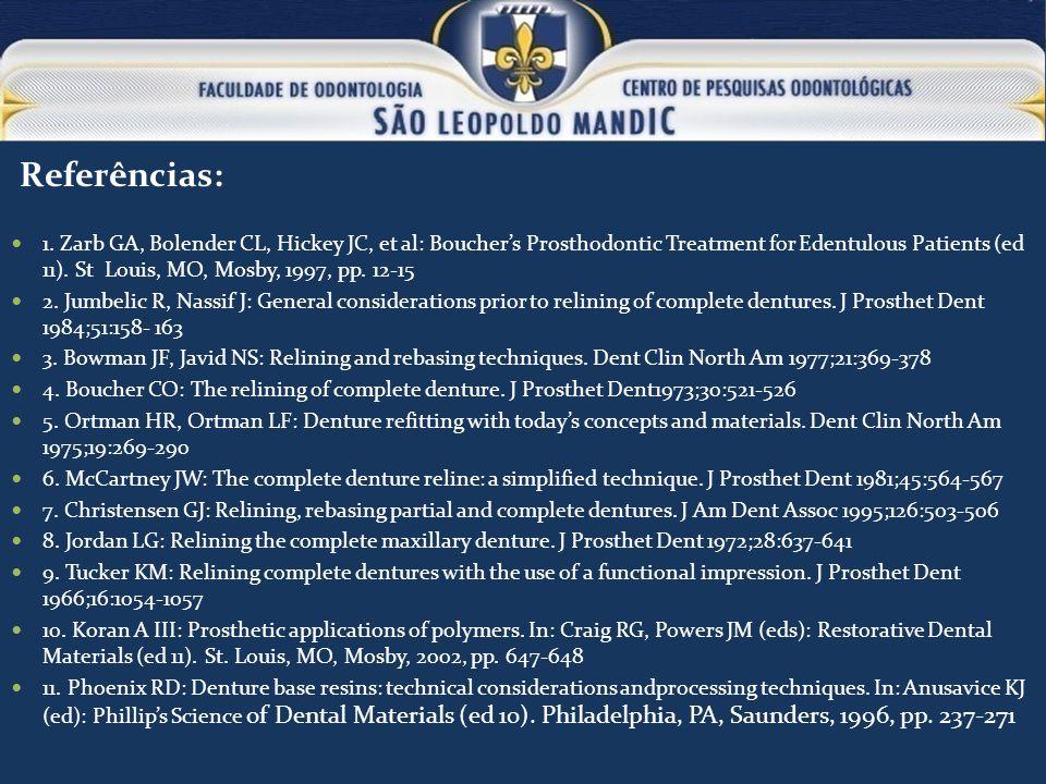 Referências: 1. Zarb GA, Bolender CL, Hickey JC, et al: Bouchers Prosthodontic Treatment for Edentulous Patients (ed 11). St Louis, MO, Mosby, 1997, p