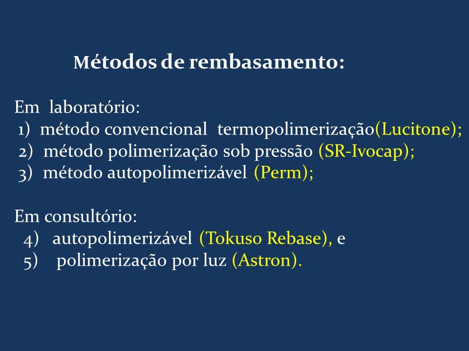 M étodos de rembasamento: Em laboratório: 1) método convencional termopolimerização(Lucitone); 2) método polimerização sob pressão (SR-Ivocap); 3) mét