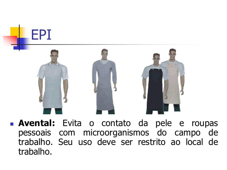 Avental: Evita o contato da pele e roupas pessoais com microorganismos do campo de trabalho. Seu uso deve ser restrito ao local de trabalho. EPI
