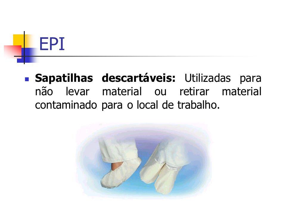 Sapatilhas descartáveis: Utilizadas para não levar material ou retirar material contaminado para o local de trabalho.