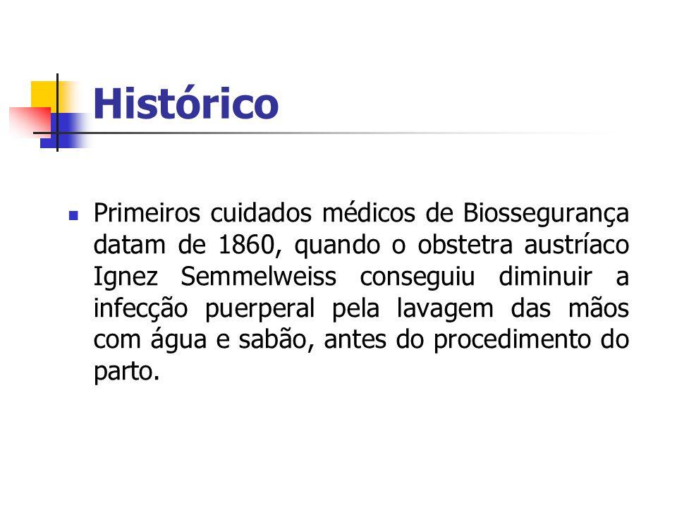 Histórico Primeiros cuidados médicos de Biossegurança datam de 1860, quando o obstetra austríaco Ignez Semmelweiss conseguiu diminuir a infecção puerp