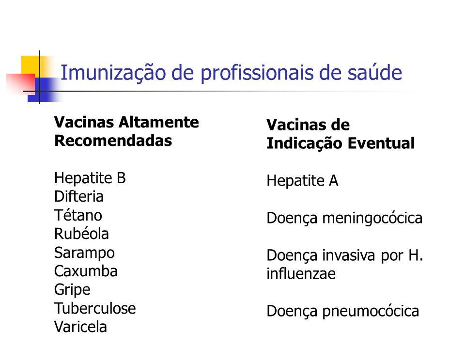 Imunização de profissionais de saúde Vacinas Altamente Recomendadas Hepatite B Difteria Tétano Rubéola Sarampo Caxumba Gripe Tuberculose Varicela Vaci