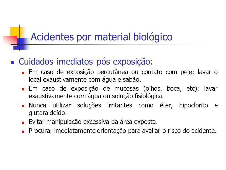 Acidentes por material biológico Cuidados imediatos pós exposição: Em caso de exposição percutânea ou contato com pele: lavar o local exaustivamente c