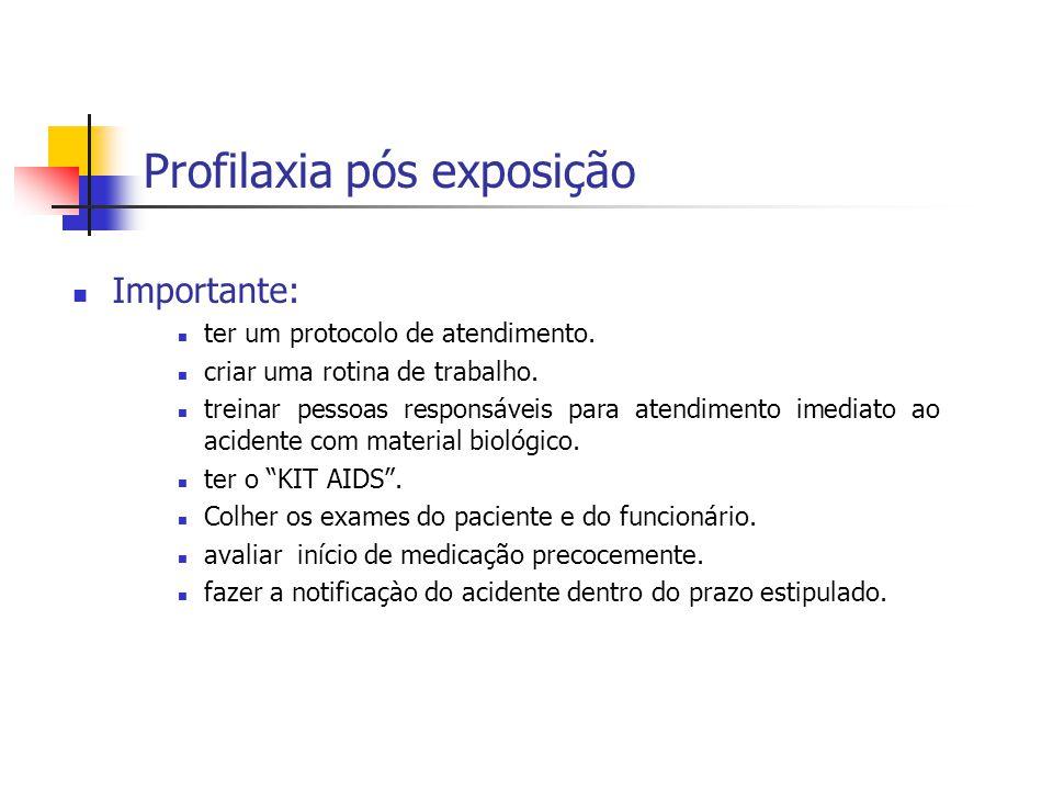 Profilaxia pós exposição Importante: ter um protocolo de atendimento. criar uma rotina de trabalho. treinar pessoas responsáveis para atendimento imed