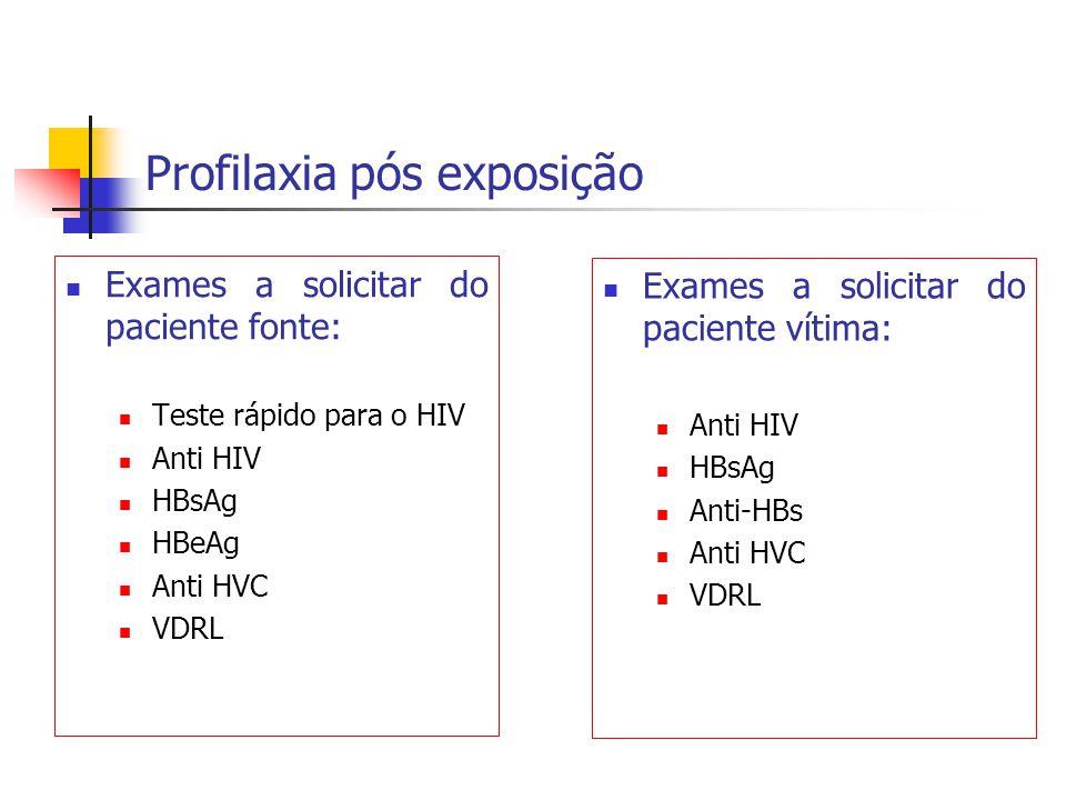 Profilaxia pós exposição Exames a solicitar do paciente fonte: Teste rápido para o HIV Anti HIV HBsAg HBeAg Anti HVC VDRL Exames a solicitar do pacien