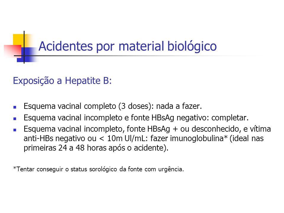 Acidentes por material biológico Exposição a Hepatite B: Esquema vacinal completo (3 doses): nada a fazer. Esquema vacinal incompleto e fonte HBsAg ne