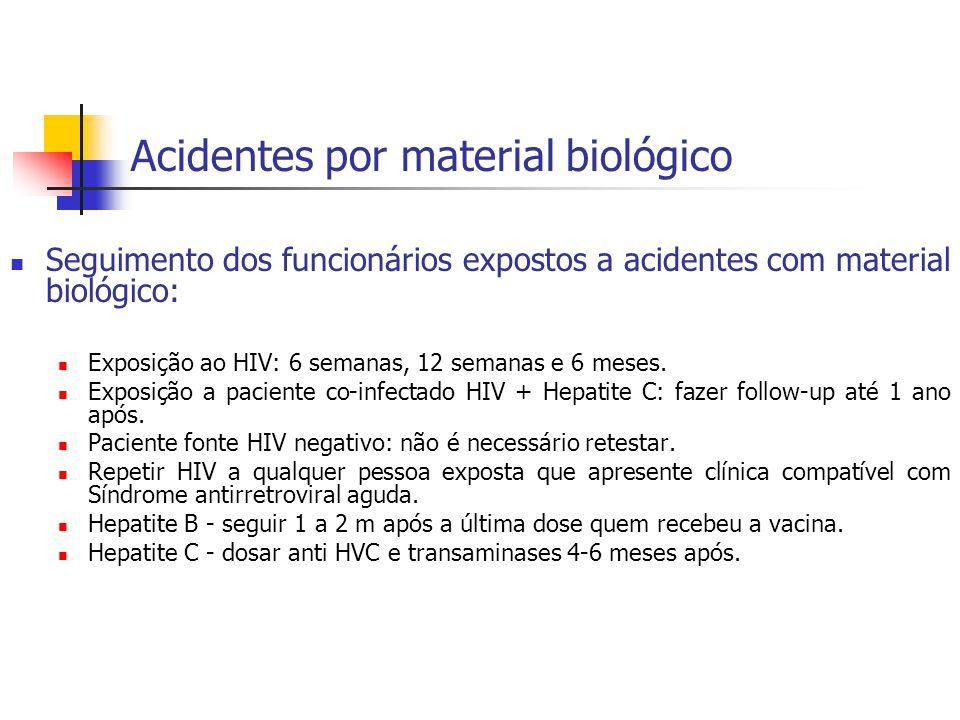 Acidentes por material biológico Seguimento dos funcionários expostos a acidentes com material biológico: Exposição ao HIV: 6 semanas, 12 semanas e 6
