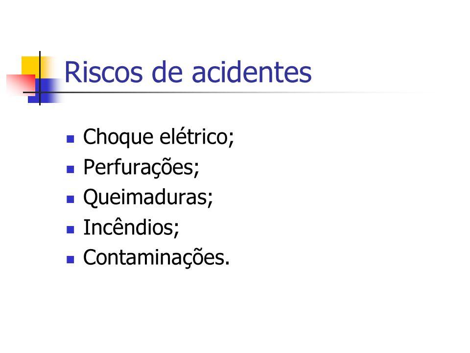 Riscos de acidentes Choque elétrico; Perfurações; Queimaduras; Incêndios; Contaminações.