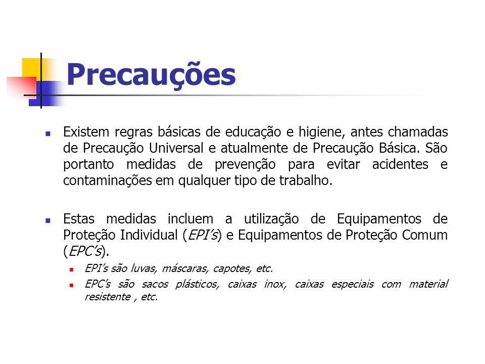 Precauções Existem regras básicas de educação e higiene, antes chamadas de Precaução Universal e atualmente de Precaução Básica. São portanto medidas