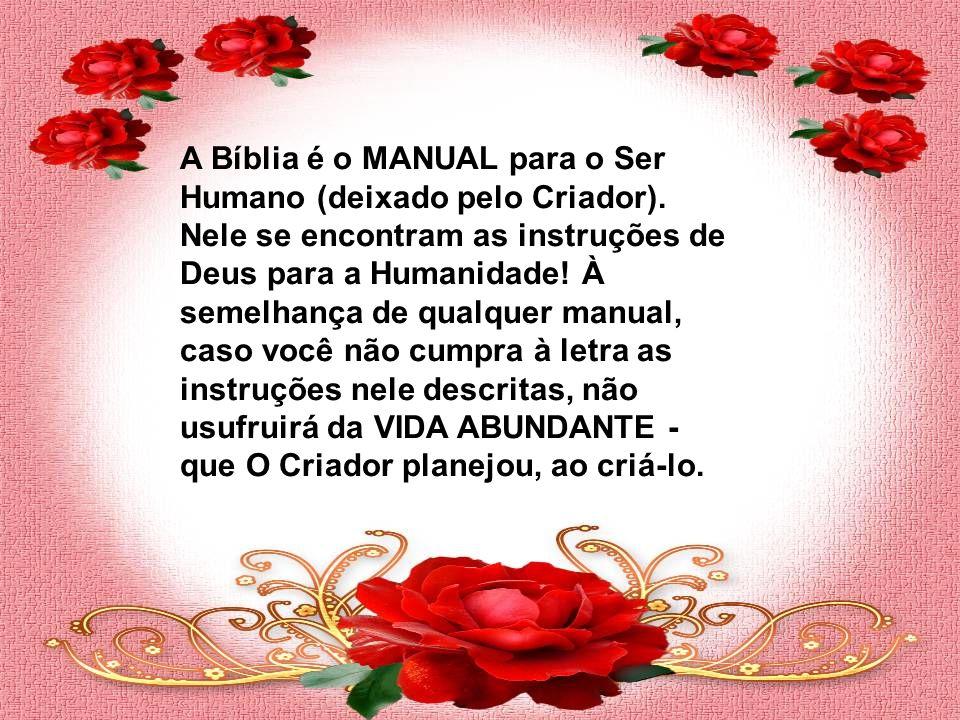 A Bíblia é o MANUAL para o Ser Humano (deixado pelo Criador).