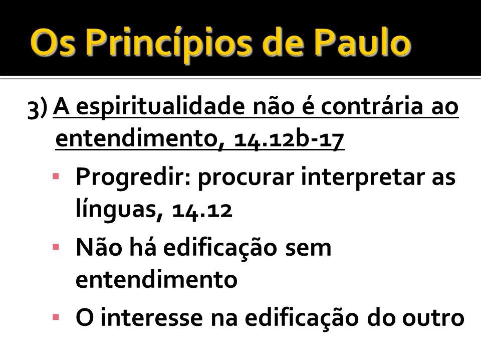 3) A espiritualidade não é contrária ao entendimento, 14.12b-17 Progredir: procurar interpretar as línguas, 14.12 Não há edificação sem entendimento O