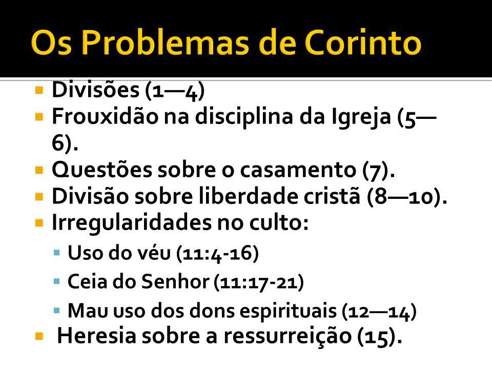 Divisões (14) Frouxidão na disciplina da Igreja (5 6). Questões sobre o casamento (7). Divisão sobre liberdade cristã (810). Irregularidades no culto:
