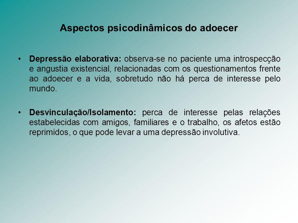 Aspectos psicodinâmicos do adoecer Depressão elaborativa: observa-se no paciente uma introspecção e angustia existencial, relacionadas com os question